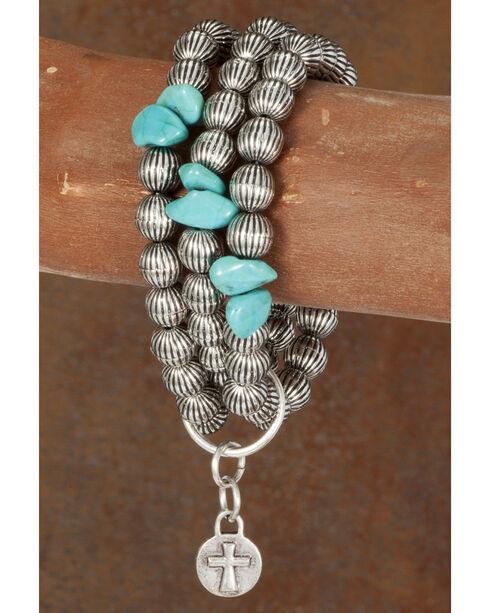 West & Co. Women's Burnished Silver Melon Bead Turquoise Bracelet, Silver, hi-res
