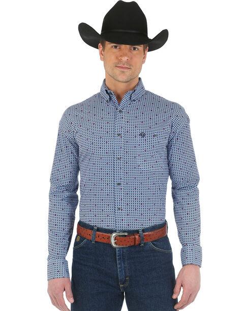 Wrangler Men's George Strait Long Sleeve Western Shirt, Navy, hi-res