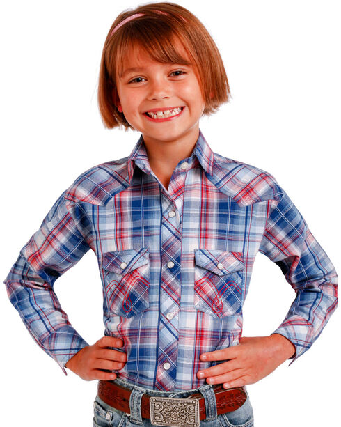 Panhandle Girls' Plaid Western Long Sleeve Shirt, Blue, hi-res