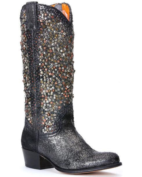 Frye Women's Deborah Studded Tall Boots - Round Toe, Charcoal Grey, hi-res