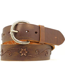 Nocona Women's Floral Scroll Embroidered Leather Belt, , hi-res
