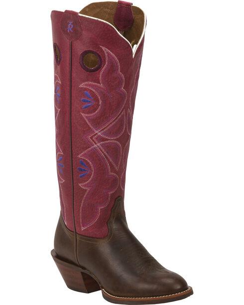 Tony Lama Women's 3R Buckaroo Western Boots, Chocolate, hi-res