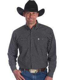 Wrangler Men's Black George Strait Button Down Print Shirt - Big & Tall , , hi-res