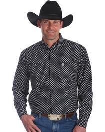 Wrangler Men's Black George Strait Button Down Print Shirt - Big & Tall , , hi-res