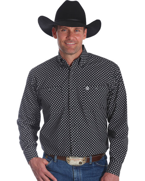 Wrangler Men's Black George Strait Button Down Print Shirt - Big & Tall , Black, hi-res