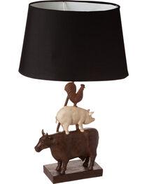 Evergreen Farmhouse Animals Linen Shade Resin Base Lamp , , hi-res