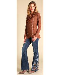 Wrangler Women's Brown Faux Suede Zip Jacket, , hi-res