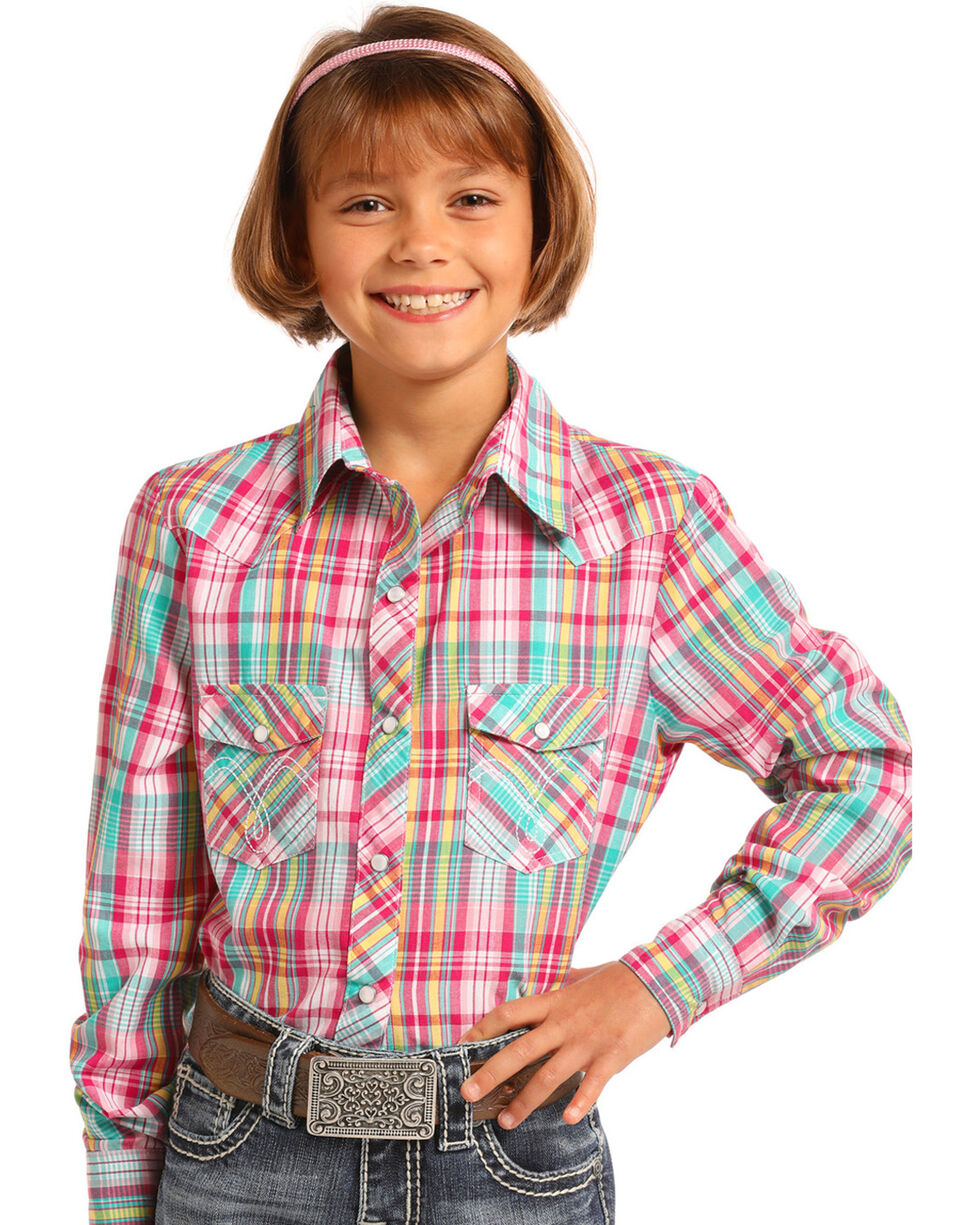Panhandle Girls' Multi Plaid Long Sleeve Snap Shirt, Multi, hi-res