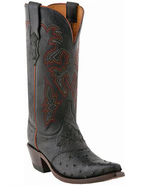Lucchese Women's Augusta Exotic Ostrich Western Boots, Black, hi-res