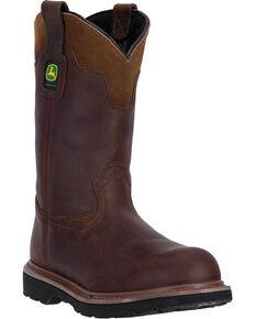John Deere Mens 11 Pull-On All Around Steel Toe Work Boots, Brown,