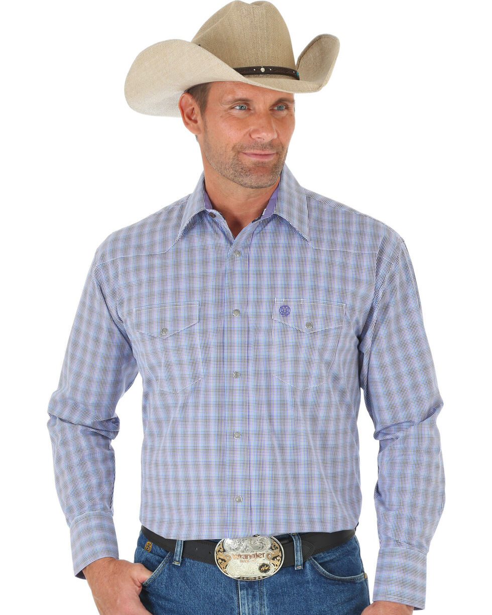 Wrangler George Strait Purple Plaid Two Pocket Snap Western Shirt , Multi, hi-res