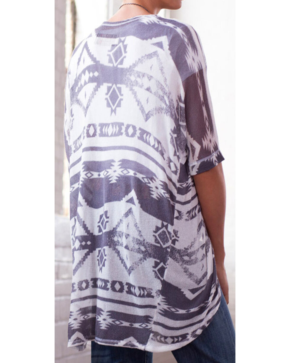Ryan Michael Women's Iron Grey Aztec Shawl Sweater, Grey, hi-res