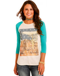 Rock & Roll Cowgirl Women's Desert Graphic Baseball Tee , Teal, hi-res