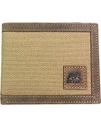 Berne Men's Genuine Leather Canvas Pass Case Wallet , , hi-res