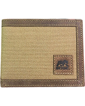 Berne Men's Genuine Leather Canvas Pass Case Wallet , Brown, hi-res
