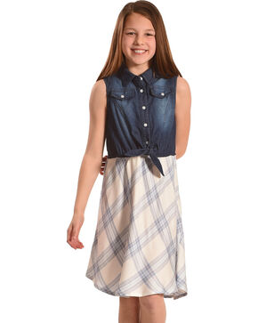 Silver Girls' Blue Sleeveless Denim Plaid Dress, Blue, hi-res