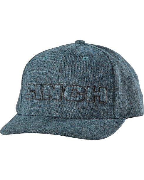 Cinch Men's Flex Fit Raised Logo Ball Cap, Blue, hi-res