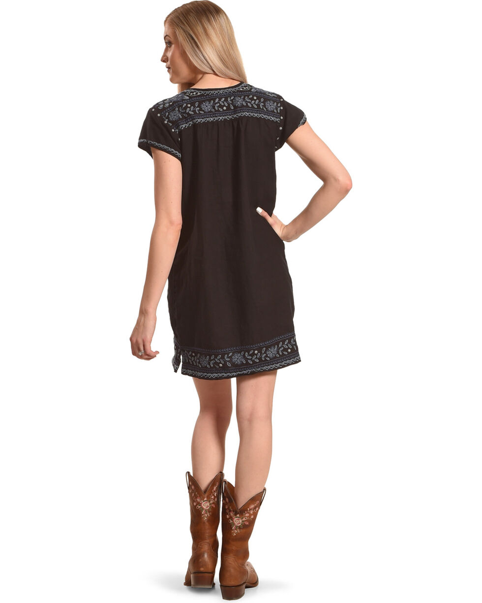 Johnny Was Women's Black Lei Lei Peasant Tunic Dress , Black, hi-res