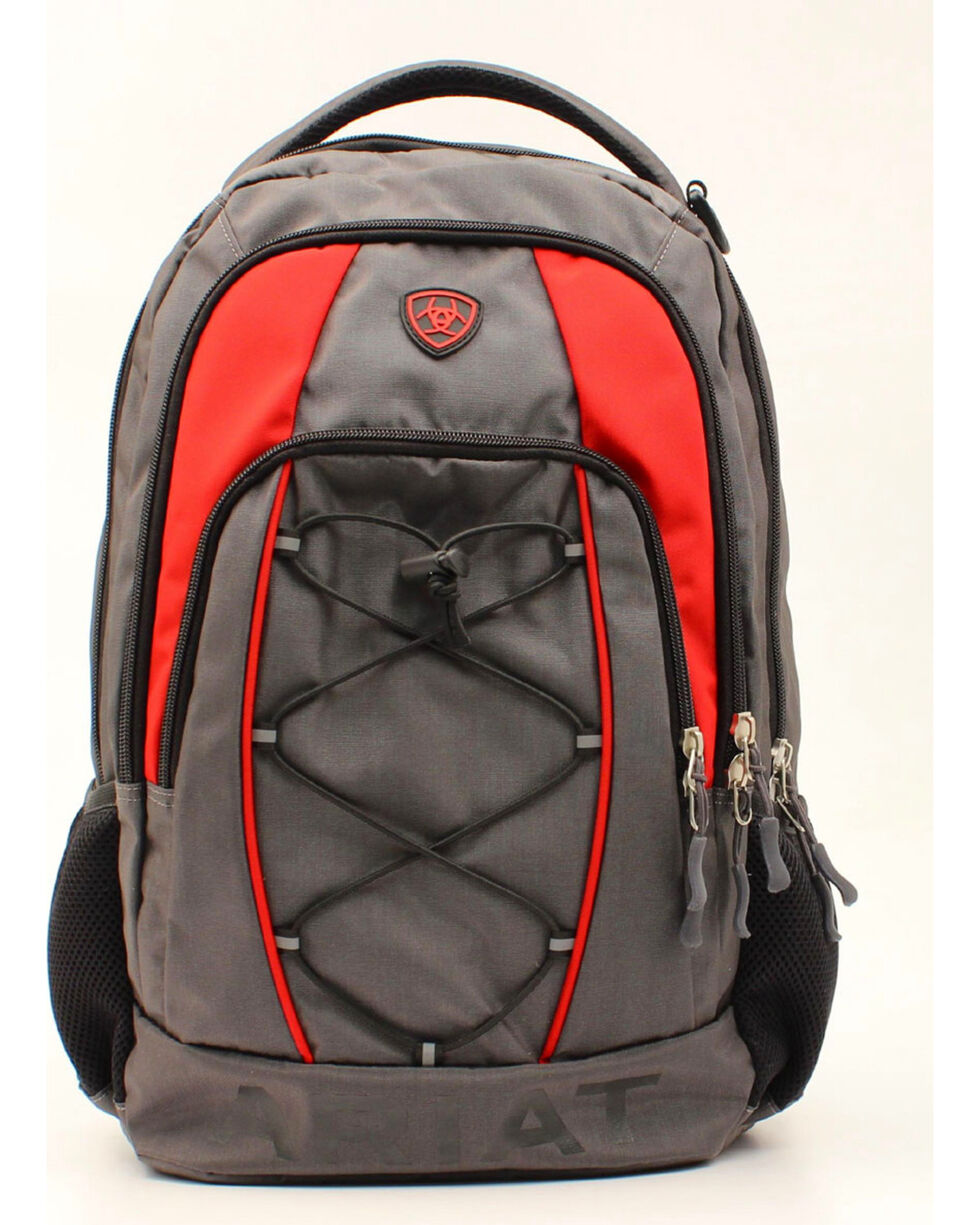 Ariat Grey/Red Bungee Cord Front Side Water Bottle Backpack, Grey, hi-res