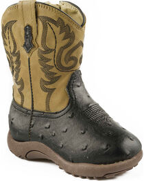 Roper Infant Boys' Black and Tan Ostrich Print Cowbabies Boots, , hi-res
