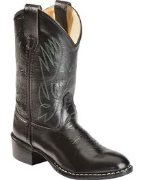 Old West Youth Boys' Western Cowboy Boots - Round Toe, , hi-res