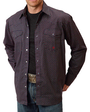 Roper Men's Western Long Sleeve Snap Shirt, Navy, hi-res