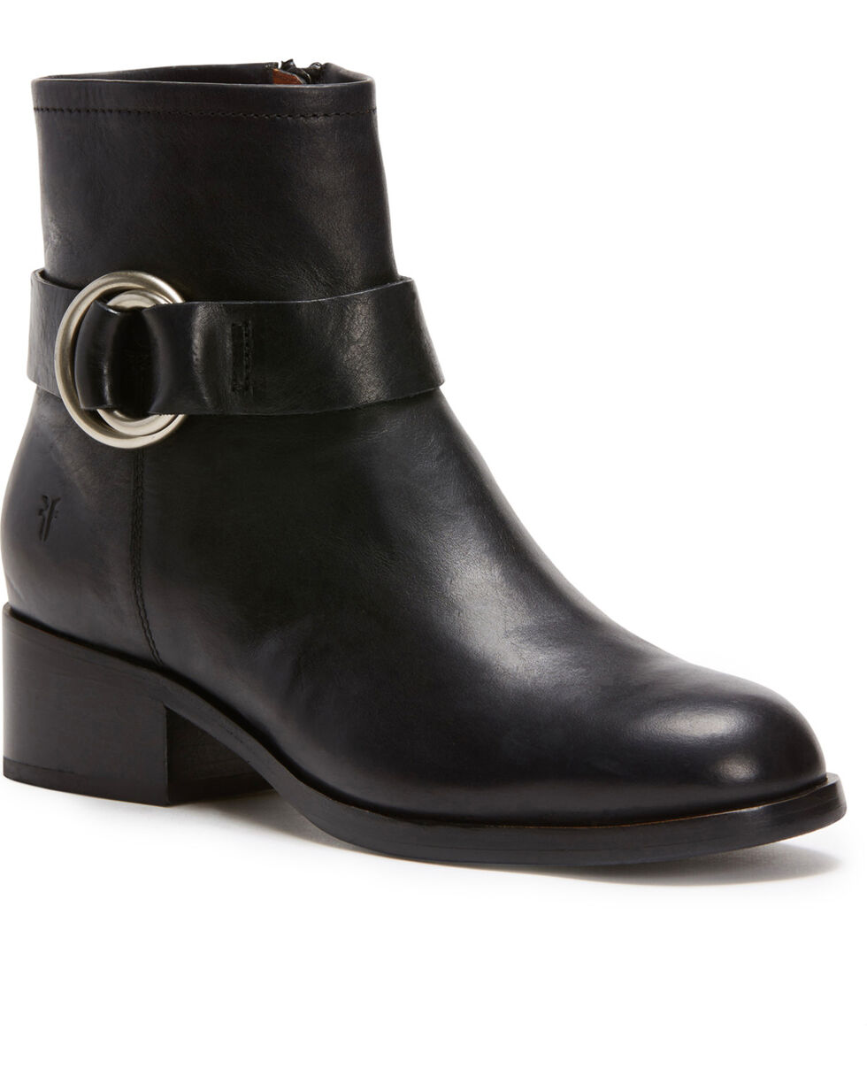 Frye Women's Black Kristen Harness Short Booties - Round Toe , Black, hi-res