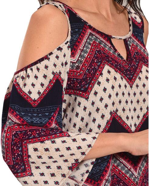 Luna Chix Women's Western Print Cold Shoulder Top, Multi, hi-res