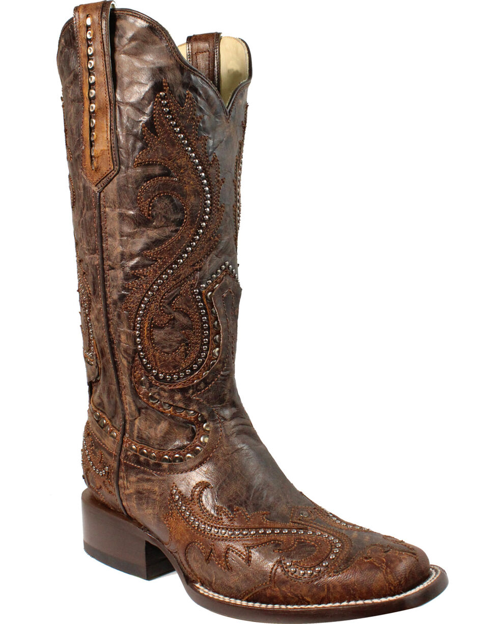 Corral Women's Dark Brown Overlay and Studs Cowgirl Boots - Square Toe, Dark Brown, hi-res