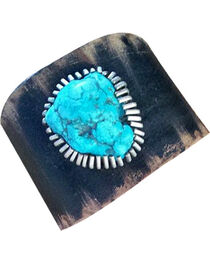 Cowgirl Confetti Navy Leather Turquoise Stone Cuff, , hi-res