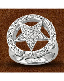 Kelly Herd Sterling Silver Crystal Circle Star Ring, , hi-res