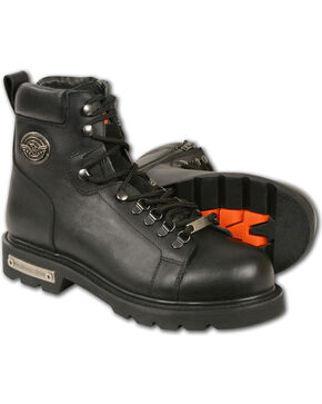 Milwaukee Leather Men's Black Lace-to-Toe Boots - Round Toe , Black, hi-res