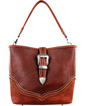 Montana West Trinity Ranch Basket Weave Concealed Handgun Collection Handbag, Brown, hi-res
