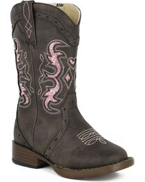 Roper Toddler Girls' Lexi Glitter Cowgirl Boots - Square Toe, , hi-res
