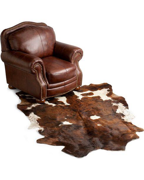 Cowhide Leather Area Rug, Brown, hi-res