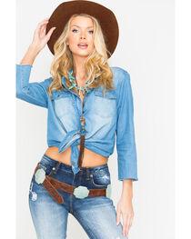 Miss Me Women's Dream Catcher Long Sleeve Denim Shirt, , hi-res