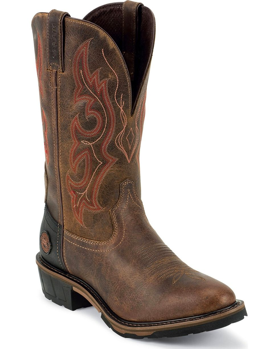Justin Men's Hybred Waterproof Pull-On Work Boots, Brown, hi-res