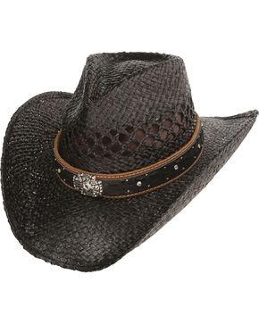 Charlie 1 Horse Hats Men's Cross Studded Straw Hat, Black, hi-res