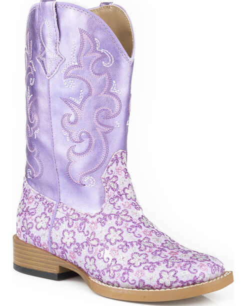 Roper Kid's Floral Glitter Western Boots, Purple, hi-res