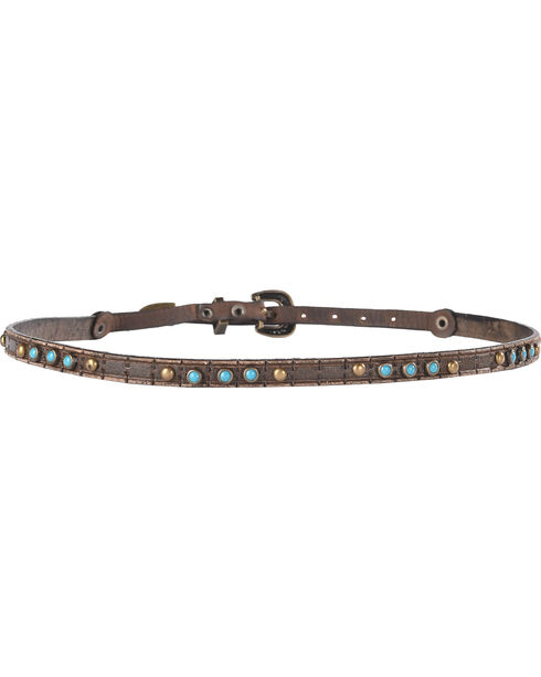 Phunky Horse Beaded Leather Hat Band, Chocolate, hi-res