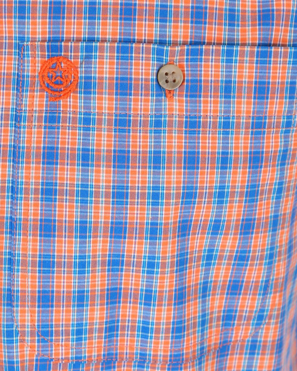 Wrangler Men's Orange and Blue Plaid Short Sleeve Shirt , Orange, hi-res