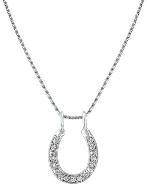 Montana Silversmiths Women's Shining Bright Horseshoe Necklace, Silver, hi-res