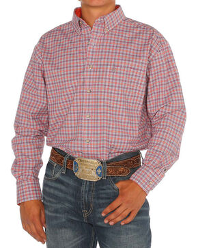 Noble Rider Men's Plaid Long Sleeve Shirt, Orange, hi-res