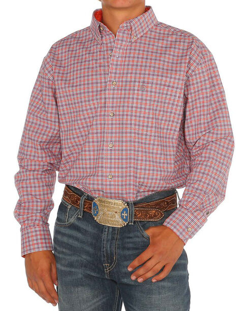 Noble Rider Men's Plaid Long Sleeve Shirt, Orange, hi-res