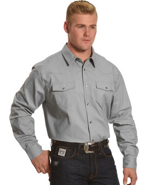 American Worker Men's Rancher Twill Western Work Shirt, Grey, hi-res