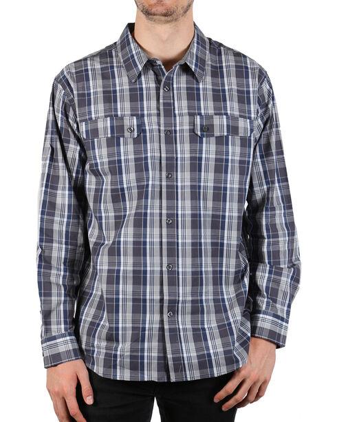 American Worker Men's Grey Plaid Contract Work Shirt , Grey, hi-res