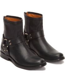 Frye Women's Black Phillip Harness Short Boots - Round Toe , , hi-res