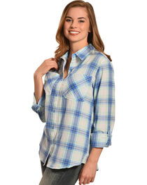 New Direction Sport Women's Blue Plaid Western Shirt , , hi-res