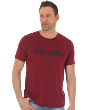 Wrangler Men's Word Mark Western T-Shirt, Red, hi-res