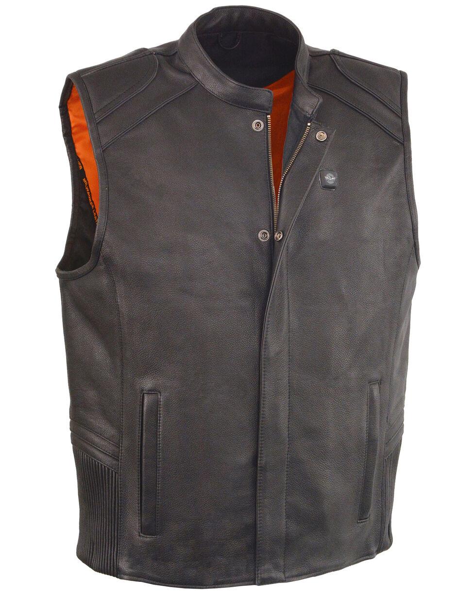 Milwaukee Leather Men's Black Heated Technology Leather Vest - 4X , Black, hi-res